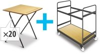 Titan 20 Economy Wooden Exam Desk & Trolley Bundle